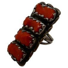 Native American Zuni Red Coral Ring by Alvina Quam