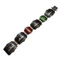 Siam Sterling Bracelet Niello, Red, Green enamel