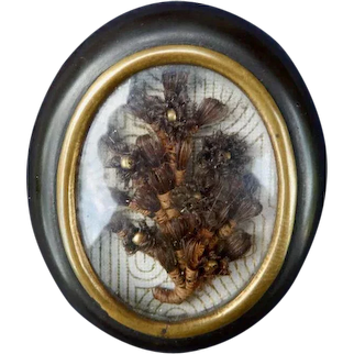 Miniature Hair Wreath Mourning Brooch Doll House Size