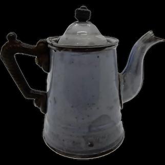 Graniteware Hot Water Pot Iron Handle, Single Serve or Children's
