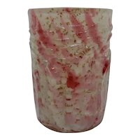 Northwood Leaf Mold Art Glass Tumbler Spatter with Mica