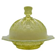 Vaseline Opalescent Glass Butter Dish Iris with Meander 1903