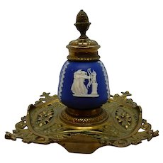 Wedgwood Inkwell on Brass Stand 19th century