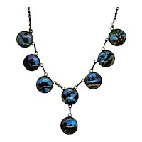 Iridescent Butterfly Wing Necklace Tropical Scenes