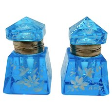 Victorian Blue Glass Inkwells with Hand Painted Enamel
