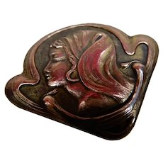 Hatpin Art Nouveau Lady Squiggly Pin Stem
