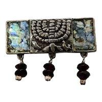 Israeli Sterling Menorah Pin Ancient Glass