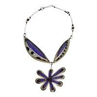 Contemporary Artist Necklace Deb Karash Purple Unique