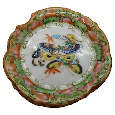 Rose Medallion Butterfly Pattern Butter Pat Chinese Export