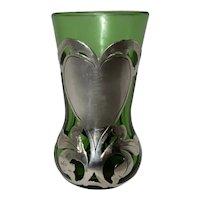 Silver Overlay Green Glass Vase