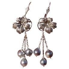"Blue Akoya 2.6"" Pearls Grape Leaves & Sterling Vintage Japanese Earrings--Converted to Lever Backs !"