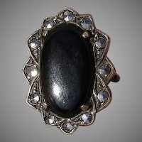 Vintage Onyx & Marcasite Gemstone Sterling over Brass Ring - Size 5.75