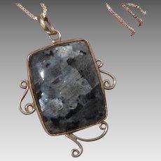 Gorgeous Unusual Labradorite & Sterling Silver Vintage Pendant