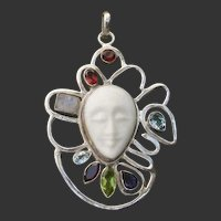 "Lovely Large 2.8"" Multi-Gem Carved Bone Face & Sterling Silver Pendant"