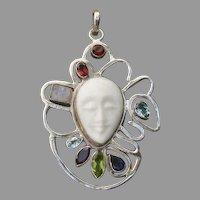 "Lovely Large 2.8"" Multi-Gem Carved Bone Face & Sterling Silver Pendant"
