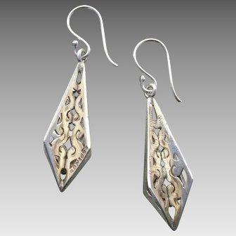 """Lovely 1.65"""" Sterling Silver Openwork Pierced Vintage Earrings - 1930's !"""