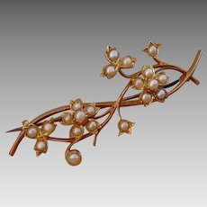 """Exquisite 18K Victorian 2.15"""" Floral Seed Pearls Brooch Pin - Antique, circa 1880"""