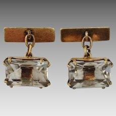 Russian Rock Quartz Crystal Cufflinks, 875 Silver Gilt - Hallmark, 1960's Vintage