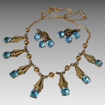 Exquisite Designer Demi Parure 12K & 10K GF Vintage Necklace & Earrings Set