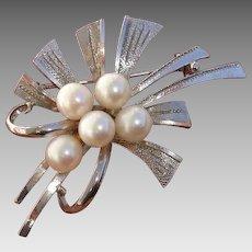 """Beautiful 2.1"""" Japanese Akoya Cultured Pearls Vintage Sterling Brooch / Pendant"""