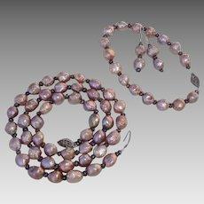 """GORGEOUS Rosebud Keshi Lavender & Deep Purple BIWA Cultured Pearls, Sterling 21"""" Necklace, Bracelet & Earrings Parure !"""