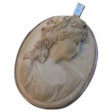 "Antique 1.95"" Bacchante Goddess Cameo 900 Silver Brooch / Pendant Combo - Red Tag Sale Item"