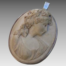 """Antique 1.95"""" Bacchante Goddess Cameo 900 Silver Brooch / Pendant Combo"""