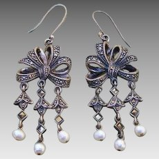 Beautiful Bow Cultured Pearl Sterling & Marcasite Dangle Earrings - Signed A