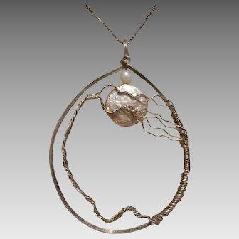 "Beautiful Handmade 2.65"" Tree & Moon Cultured Pearl & Sterling Pendant"
