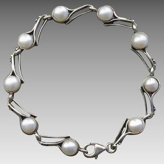 Beautiful Cultured Pearls & Sterling Silver Vintage Bracelet