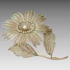 "Beautiful LARGE 3.5"" Filigree Cultured Pearl Flower Sterling Brooch"