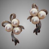Radiant Mikimoto Scarce Bow Design-Akoya Pearls & Sterling Japanese Vintage Earrings