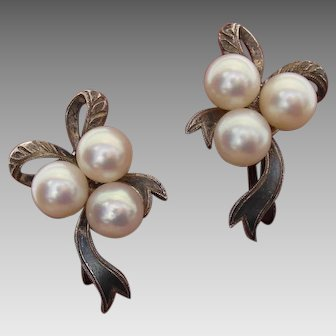Radiant Mikimoto Scarce Bow Design-Akoya Pearls & Sterling Japanese Earrings