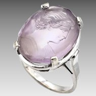 Carved Amethyst Cameo 14K White Gold Ring, Estate - Size 6