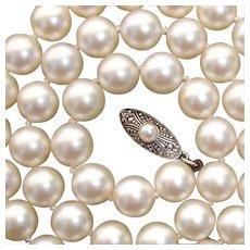 PRISTINE 1950s Mikimoto Akoya 7mm Pearl Necklace, Sterling Clasp - in Also-Pristine Original Mikimoto Case