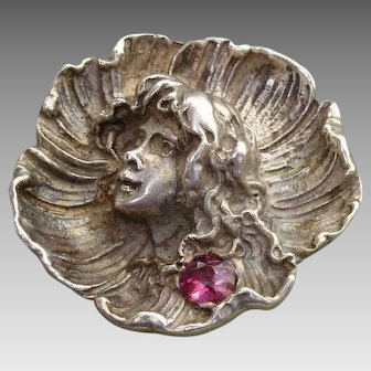 Art Nouveau Sterling & Pink Tourmaline High Relief Cameo Imp Repousse Brooch