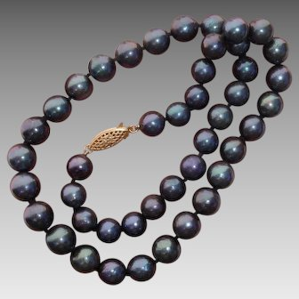 "Cultured Tahitian Pearls & 14K Necklace, 10mm-8.8mm, 18.25"" Long"