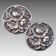 Vintage S Kirk & Son Sterling Floral Repousse Clip-On Earrings