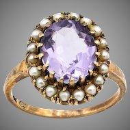 Estate Amethyst & Pearl 10K Gold Antique Ring - Size 5.5
