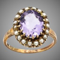 Estate Amethyst & Pearl 10K Gold Antique Ring - Size 5.5