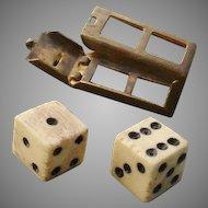 Cute & So Collectible - Antique Bone Dice in Box Charm !  Opens, Dice come out, circa 1910s