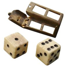 HOLIDAY SPECIAL - 50% OFF ! Cute & So Collectible - Antique Bone Dice in Box Charm !  Opens, Dice come out, circa 1910s