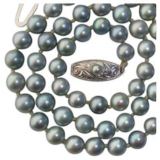 Beautiful Blue Grey 1950s Akoya 7mm Pearl & Sterling Vintage Necklace, by Toyomoto