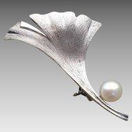 Beautiful Mikimoto Ginkgo Biloba Leaf Pearl & Sterling Vintage Brooch - 1950s