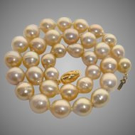 """Luscious 12mm Golden South Sea Cultured Pearls Necklace - 17.65"""" Long"""