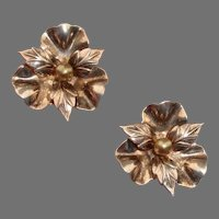 """Gorgeous Sterling w/ Rose Gold Wash Flower Large 1.17"""" Vintage Clip Earrings"""
