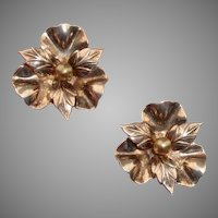 "Gorgeous Sterling w/ Rose Gold Wash Flower Large 1.17"" Vintage Clip Earrings"