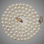 """27.75"""" Luscious 18K Japanese Akoya Cultured 7mm Pearls Vintage Necklace - Mikimoto Styled"""