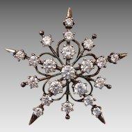 "Sparkling Big 1.65"" Sterling & Cubic Zirconia STAR Vintage Brooch, Snowflake Like !"