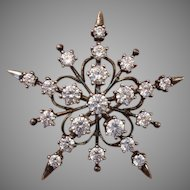 "Sparkling Big 1.65"" Sterling & Cubic Zirconia STAR Vintage Brooch, Snowflake Like !"